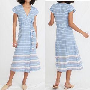 Marine Layer Maddie wrap dress blue white stripe M